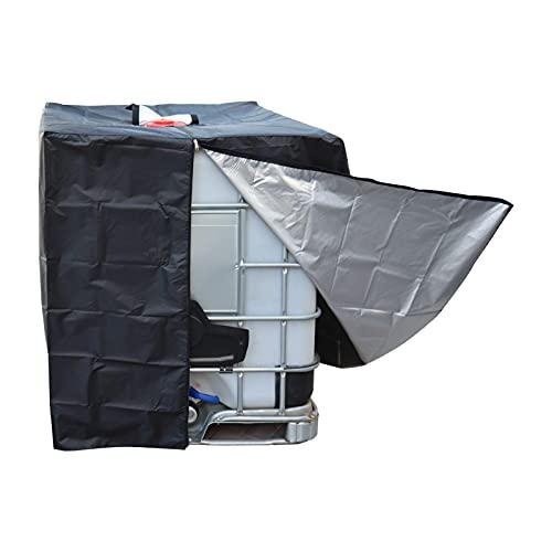 Cubierta Antipolvo Capucha Protectora contra el Sol Ton Barrel Cubierta para Lluvia para Tanque de Agua de Lluvia Contenedor IBC 1000 L Negro