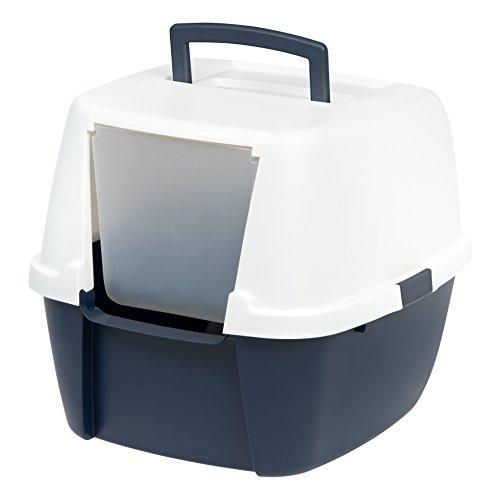 Iris Ohyama, Bandeja de arena para gatos con capucha, sin olores ni derrames de basura, portátil, altura de entrada: 17,8 cm, pala incluida, para gato - Jumbo Cat Litter Box CLH-17J - Azul