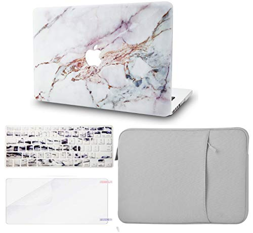 KECC Laptop Case for MacBook Air 13' w/Keyboard Cover + Sleeve + Screen Protector (4 in 1 Bundle) Plastic Hard Shell Case A1466/A1369 (White Marble 4)