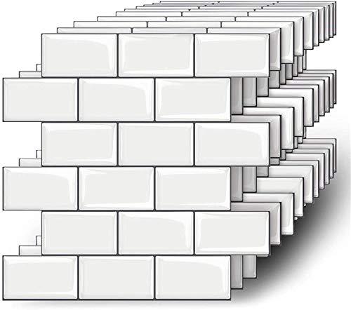 MORCART 10 Stück Fliesenaufkleber Selbstklebende Fliesendekor Aufkleber Backstein 3D Mosaik Wallpaper Küchenschränke Badezimmer Kamin Bodentreppe Abnehmbar Wasserdicht für Küche und Bad