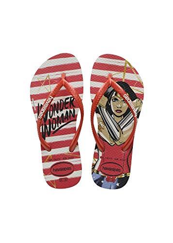 Chinelo Slim Wonder Woman, Havaianas, Meninas, Branco, 31/32