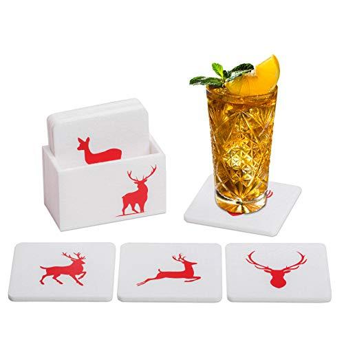 Set di sottobicchieri in feltro bianco e rosso, set di 9 pezzi, per vino, birra, cocktail