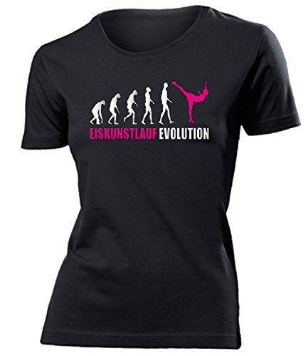 Eiskunstlauf Evolution 4581 Wintersport Schlittschuh Shirt Tshirt Fanartikel Fanshirt Frauen Sportbekleidung Damen T-Shirts Schwarz Aufdruck Pink S
