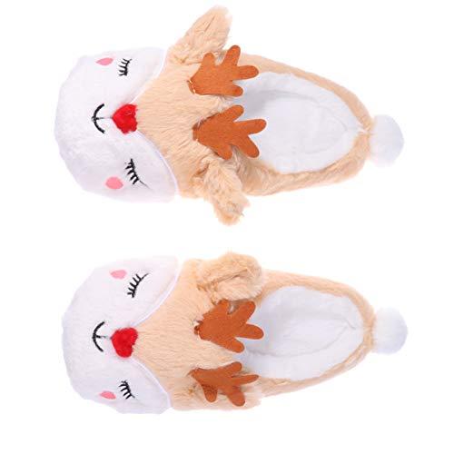 Happyyami 1 Paar Fuzzy Rentier Pantoffel Baumwolle warme Hausschuhe Winter Haus Pantoffel Plüsch Weihnachtsschuhe