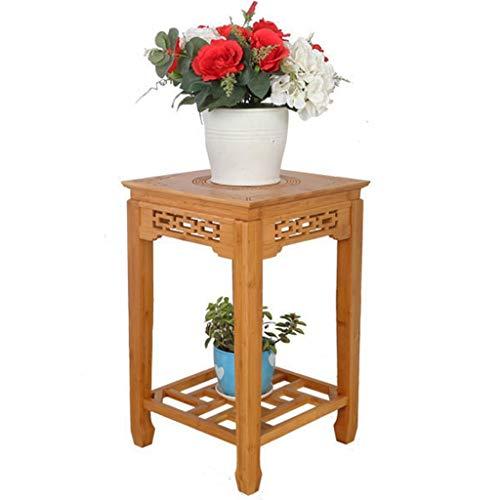 Étagères d'angle Jardinière Salon Creux Fleur Pot Rack Chinois Parterre A Côté De The Sofa Viande D'intérieur en Rack Au Sol Vase Sculpté À La Main (Color : Yellow, Size : 33 * 52.3cm)