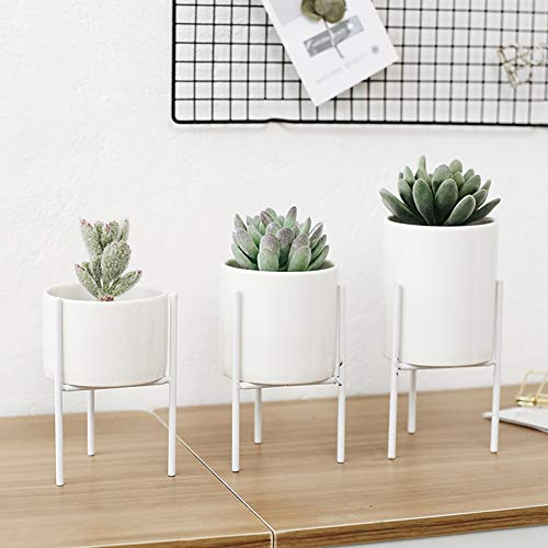 Lai-LYQ metalen plankhouder huistuin plantenhouder keramiek bloempot container plantenbak M.None wit