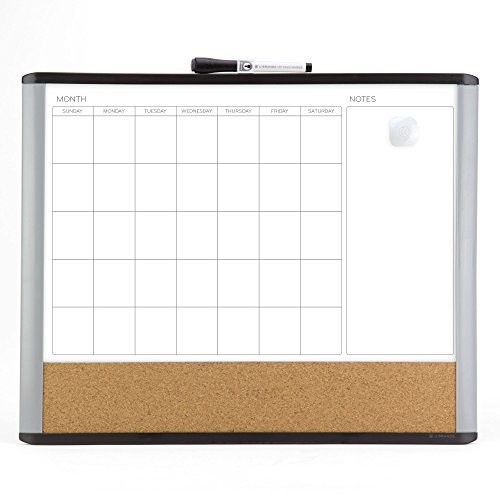 U Brands Magnetic Dry Erase 3-in-1 Calendar Board, 16 x 20 Inches, MOD Black/Gray Frame, Magnet and Marker Included (388U00-01)