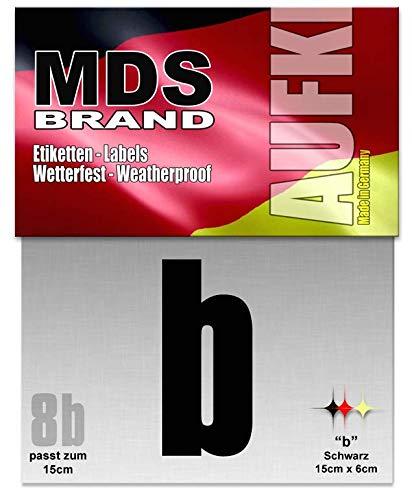 15cm Buchstaben Aufkleber (a-c) Hausnummer Selbstklebend Schwarz (B)