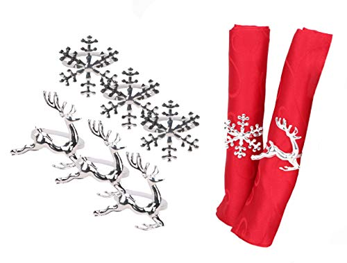 Napkin Rings Set of 6 Silver Napkin Rings Snowflake Reindeer Christmas Lunch Party Tableware Christmas Decorations Napkin Holder