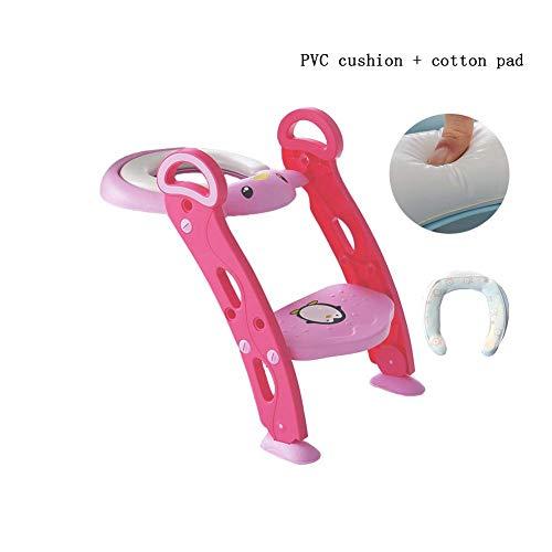 JIEER-C Ergonomische stoelpotjes toiletbril, kinder-wc-training babypot met ladder, gewatteerd comfort-antislippedaal, gemakkelijk te reinigen, geschikt voor jongens en meisjes, geschikt voor 1-7 roze 2
