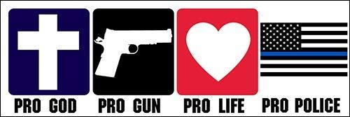 Pro God Gun Life - Police Bumper Sticker (Trump cop fop Officer Support Blue)