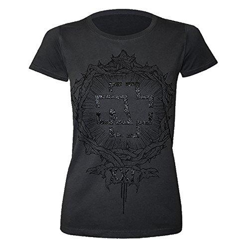 Rammstein Frauen Damen Girlie Shirt XXI, Offizielles Band Merchandise Fan Shirt schwarz mit Silber metallic Front Print -L