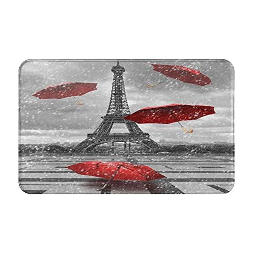 AMIGGOO Tapetes de Alfombra de Entrada,Torre Eiffel con sombrillas voladoras,Alfombra de baño Antideslizante fácil de Limpiar para la decoración del hogar Felpudo