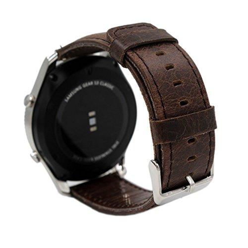 PINHEN 24mm Pulsera de Repuesto 24mm Reloj de Correa de Reemplazo de la Correa para Sony Smartwatch 2 SW2 (24mm Coffee)