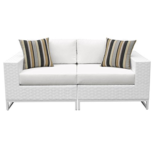 TK Classics MIAMI-02a Elegant Miami 2 Piece Outdoor Wicker Patio Furniture (Set of 2), Sail White