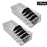 Organizador Cosméticos Acrílico Transparente - Pack de 2 Maquillaje Organizador (21,5 x 8,3cm) y 8 Sección Cada (7,5 x 2,5 cm) para Sombra de Ojos, Compactos, Colorete, Bronceador - Habitación, Salón
