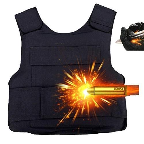 PLEASUR skottsäker väst med 32 lager, explosionssäker väst, tunn säkerhetsväst för män och kvinnor (2,8 kg, svart, en storlek).