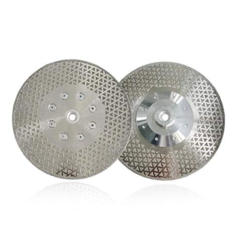 WEISHAN - Discos de molienda de corte de diamante galvanizados de 180 mm para granito de mármol con brida M14 (color: plata, tamaño: 180 mm)