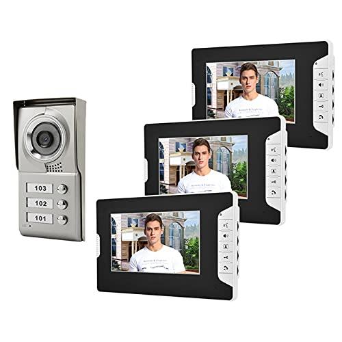 Timbre para videoportero Teléfono De La Puerta De Video Con Cable, Sistema De Intercomunicación De Control De Acceso De 3 Unidades Kitaudio Visual Doorbell Intercomunicador Sistema De Entrada De Inter