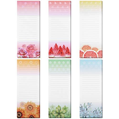 STOBOK Magnetische Notizblöcke Selbstklebender Notizblock Memo Pads Notizbücher mit 6 Verschiedenen Designs für Kühlschrank Einkaufsnachrichten Erinnerungen Message Labels Kalender Notizblock 6 stück