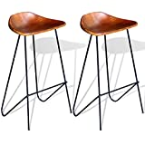 Festnight 2 Piece Bar Stools Real Goat Leather Seat Backless Industrial Style Barstool Counter Height Pub Chairs with Footrest Iron Legs for Kitchen, Dining Room, Bistro, Cafe Home Furniture