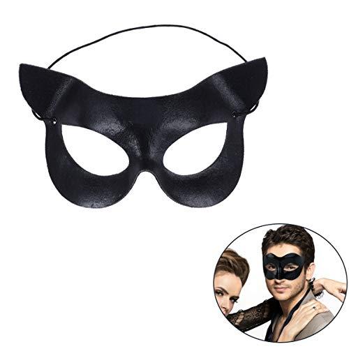 Amosfun Cat Half Mask Sexy Catwoman Maske Maskerade Ball Mask Halbe Gesichtsmaske für Halloween Maskerade Kostüm Party Ball Kostüm