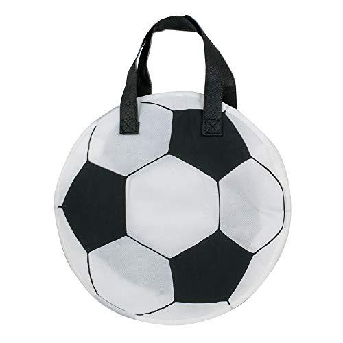 1x Einkaufstasche Fussball Black & White | 30 x 30 + 8 cm Falte | PP-Non-Woven-Tasche | Vliestasche | Stofftasche | Tragetaschen | Fußball-WM | Fußball-EM | Fanartikel