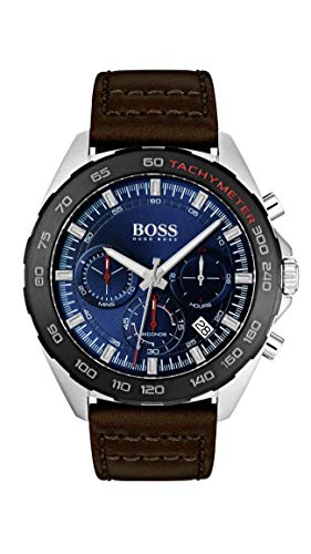 BOSS Intensity, Quartz Stainless Steel and Leather Strap Casual Watch