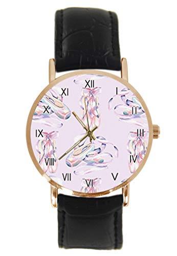 Reloj de Pulsera de Bailarina de Ballet Rosa, clásico, Unisex, analógico, de Cuarzo, con Caja de Acero Inoxidable, Correa de Cuero