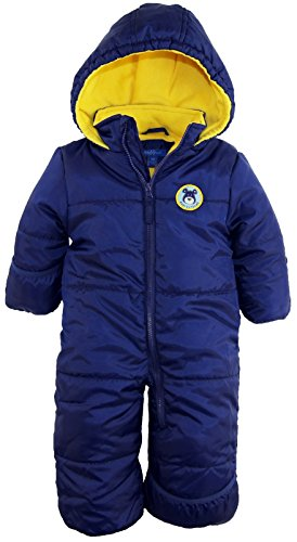 iXtreme Baby Boys Infant Cute Teddy Bear One Piece Puffer Winter Snowsuit, Navy, 18 Months