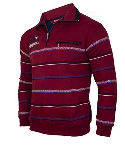 Soltice - Polo da uomo a maniche lunghe, maglia blouson con colletto, taglie dalla M alla 3XL Bordeaux [D3] XXXL