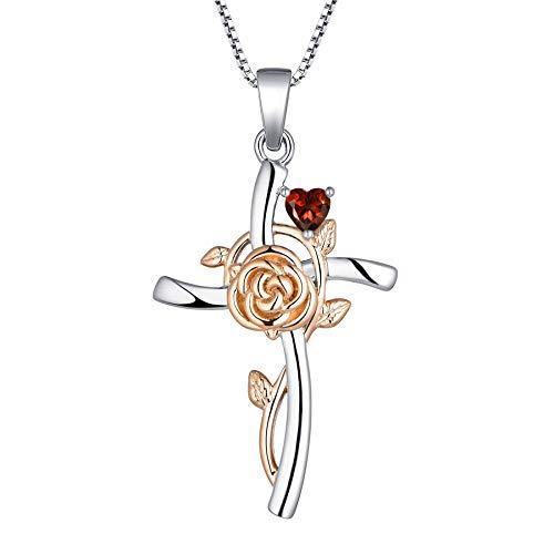 YL Collar con Cruz Plata de ley 925 con Enero Piedras de Nacimiento Granate Colgante Crucifijo Rosa para Mujer Mamá