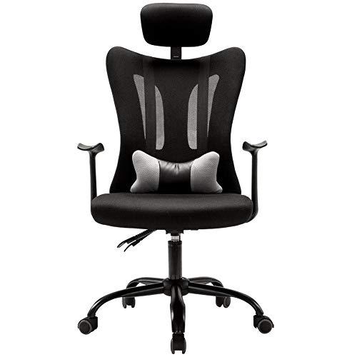 Lwieui Silla de Oficina Silla reclinable Silla de Oficina Ordenador Silla del Acoplamiento giratoria Volver Silla ergonómica Las sillas de Escritorio (Color : Black, Size : As Shown)