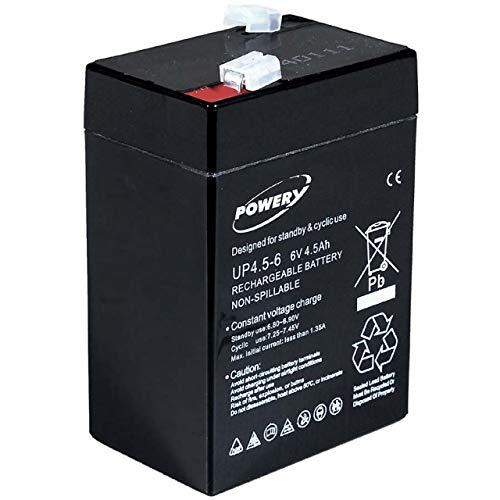 Powery Batería de Gel para Sistemas solares Alumbrado de Emergencia Alarmas 6V 4,5Ah (Reemplaza también 4Ah 5Ah)