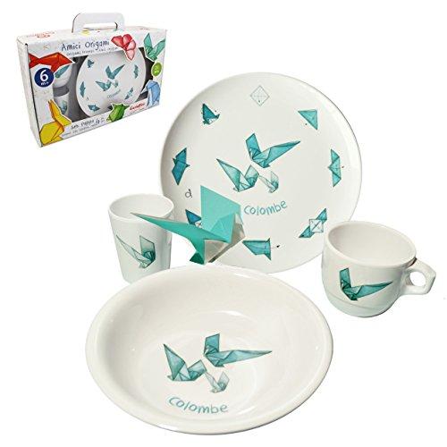 Cartaffini – Lot de 4 pièces Amici Origami – Colombe en mélamine, assiette, holster, gobelet, tasse, en coffret cadeau