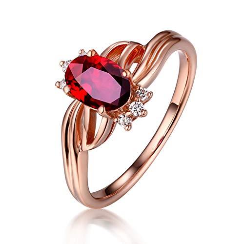KnSam Bague Femme Fine Multi-Rangs Rubis Naturel Ovale Rond Diamant, Or Rose 18 Carats Élégance Cadeau Noël