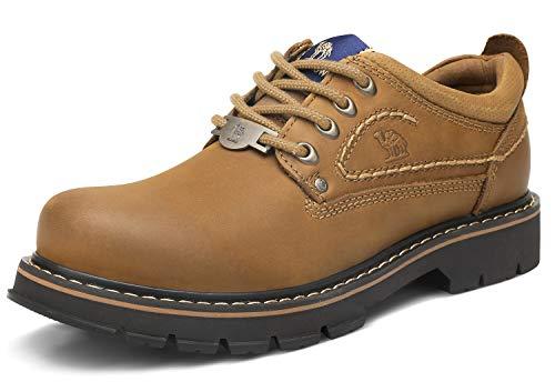 CAMEL CROWN Herren Leder Arbeitsschuhe Sicherheit Turnschuhe Bequeme Sportlich Wanderschuhe Rutschfeste Schuhe Männer Sicherheitsstiefel