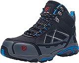 LARNMERN Zapatillas de Seguridad Hombres,LM170202 S1P SRC Zapatos de Trabajo con Punta de Acero Reflectivo Transpirable Anti-Piercing Calzados de Trabajo 43,Azul Negro