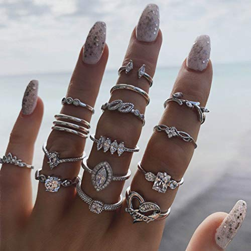 Simsly Vintage Rhinestone Kunckle Rings Silver Stackable Joint Finger Rings Set Moon Nail Accessories Jewelry for Women and Girls (Pack of 15)