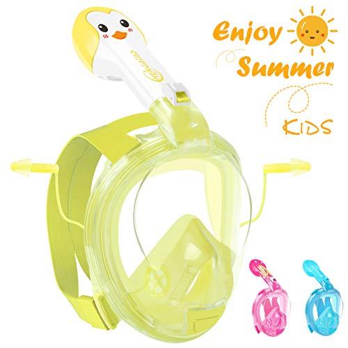 HENGBIRD Tauchmaske Vollgesichtsmaske mit Antibeschlag Antileckage Schnorchelmaske Tauchermaske für Kinder (Gelb)