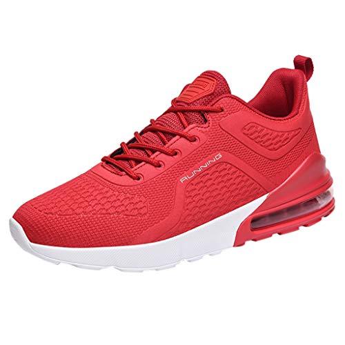 BRISEZZ heren Fly Knit ademende gymschoenen Outdoor Ultra Light Casual loopschoenen cursus turnschoen basketbalschoenen outdoor schoenen (zwart, rood, wit, 39-46)