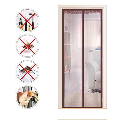 GYPING Magnetic Screen Door Curtain Magnetic Soft Door Magic Paste Curtains Gauze Mosquito or Anti Pest Super Quiet Stripes Encryption,Brown-130220