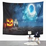 Y·JIANG Halloween Fog Forest Tapestry, Jack O Lanterns or Pumpkins and Candles Glowing at Moonlight Home Dorm Tapestries, Wide Wall Hanging Blanket for Living Room Bedroom, 60 x 50 inches