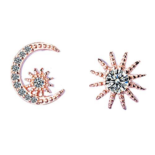 PLUS PO Moon Earrings Asymmetrical Earrings Earrings for Party Charming Earrings Sweet Earrings Fine Earrings Sparkly Earrings Cute Earrings Rose Gold