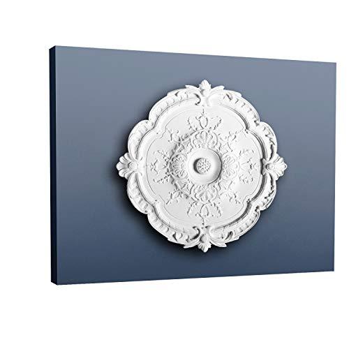 Rosetón Florón Elemento decorativo de estuco Orac Decor R31 LUXXUS para techo o pared blanco 38,5 cm diámetro