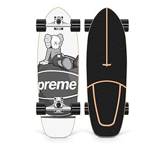 XKAI CX4 Surf Skates Skateboard Longboard 75×23cm Deck Completa Maple Wood Pumping Fancy Board para Principiantes y Adolescentes Monopatin, Rodamientos de Bolas ABEC-11