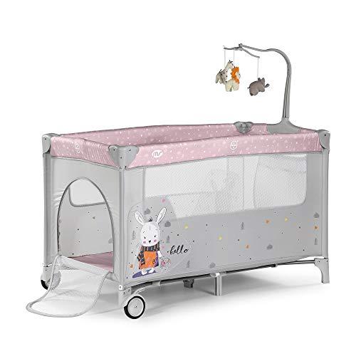 Innovaciones Ms 630223- Cuna De Viaje con Dos Alturas, hasta 15 kg, altura recién nacido, con apertura lateral, ruedas, colchón, cambiador bebe, bolsa de transporte, plegable y regulable, Rosa
