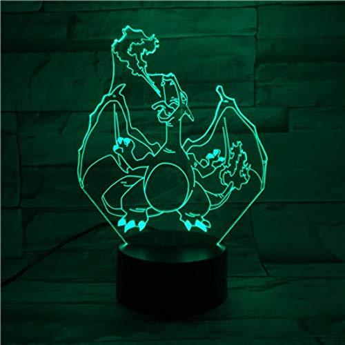 wangZJ3D Nachtlicht/Biene/Dinosaurier/Wolf/Tiger Kopf/Flugzeug/7 Farbwechsel/Sammler 3D Led Tisch Schreibtischlampe/Schlafzimmer LED Art Dinosaurier