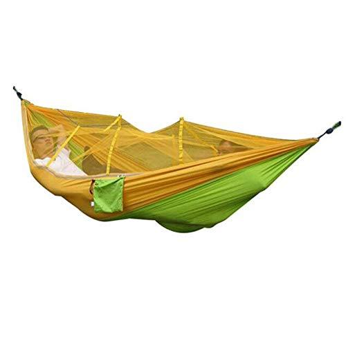Camping hangmat met Klamboe, Portable High Strength Parachute Stof camping hangmat hangende Bed, Outdoor Slapen Hangmat, 2 persoon Travel hangmat for Strand, Wandelen Backpacken, Tuin - 260x130cm dljy