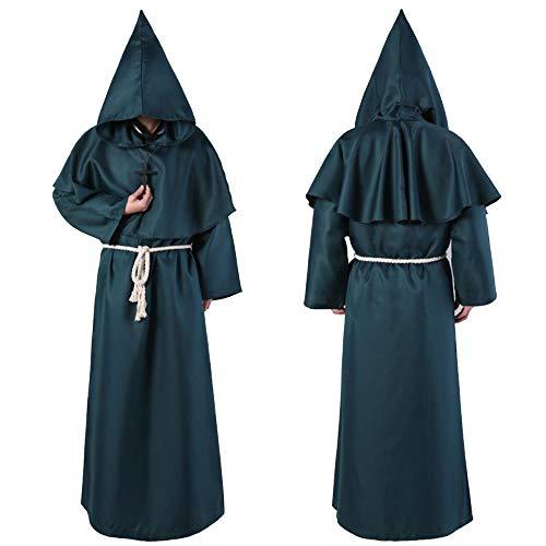 fagginakss Mittelalterliche Renaissance Mönchskutte Robe mit Kapuze Mönch Kostüm Priester Robe mit Kapuze Kostüm Cosplay mit Taille Seil und Kreuz (7 Farben)